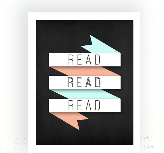 typography read read read book wall art print