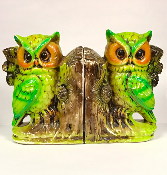Lovely Retro Owl Bookends