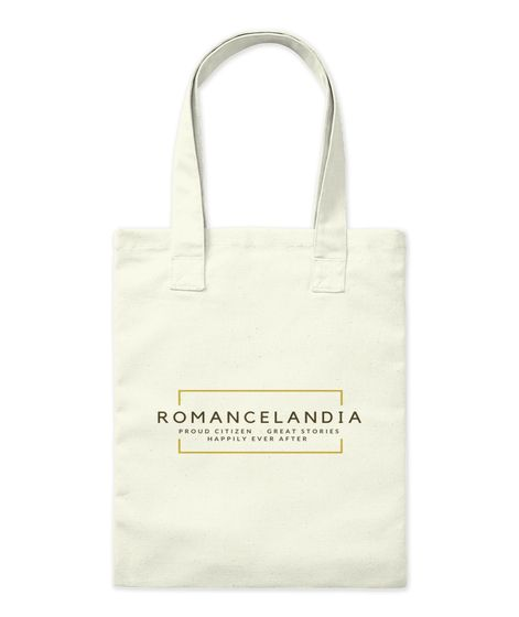 "cream tote bag with ""Romancelandia"" on the front"
