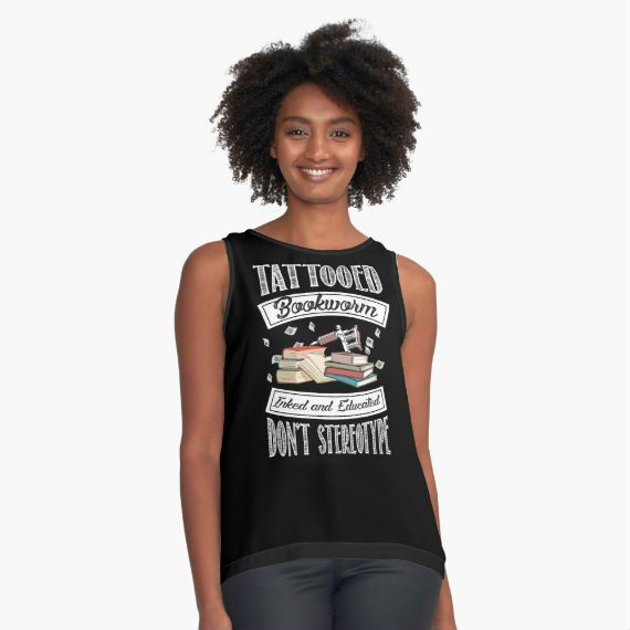 "Young Black Woman wearing black tank top with books, says ""Tattooed Bookworm, Inked and Educated, Don't Stereotype"""