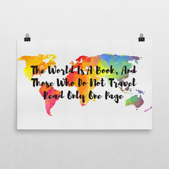 The World Is A Book Quote Book Wall Art