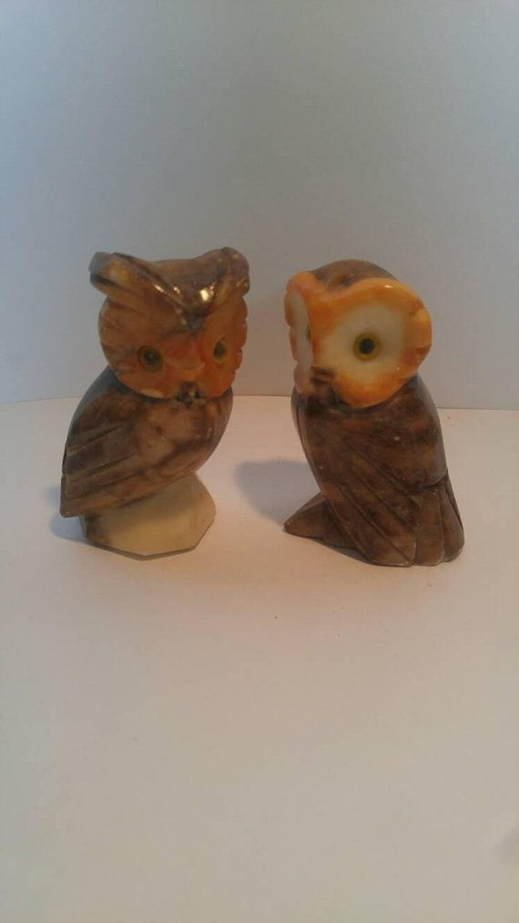 Vintage Alabaster Owl Bookends