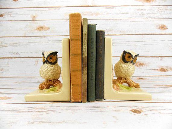 vintage ceramic owl bookends