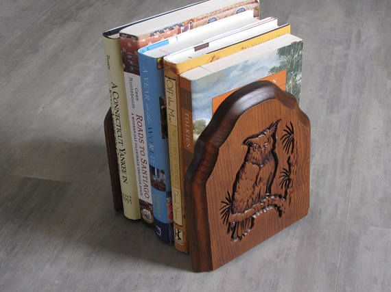 Vintage wood and metal bookends