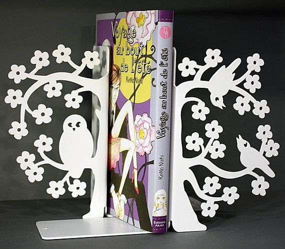White Metal Owl Bookends