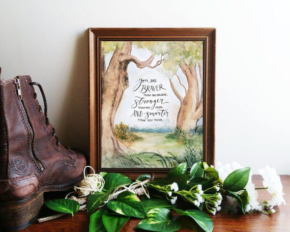 Watercolor Print with Winnie-the-Pooh quote