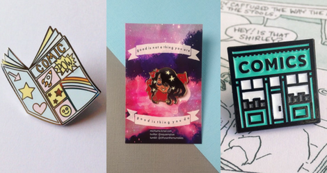 comic book-themed enamel pins