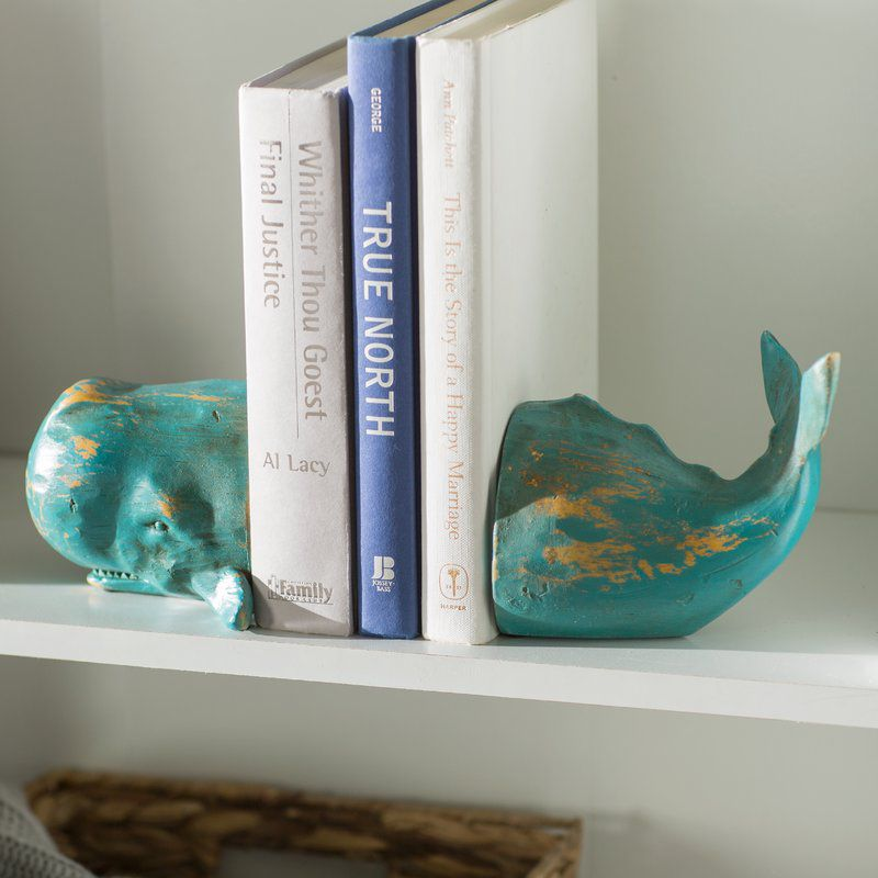 antiqued teal whale bookend