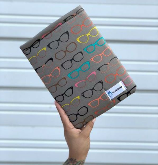 Book Beau Glasses Print Water Stain Resistant Book Sleeve