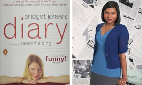 Bridget Jones's Diary book cover and Kelly from The Office