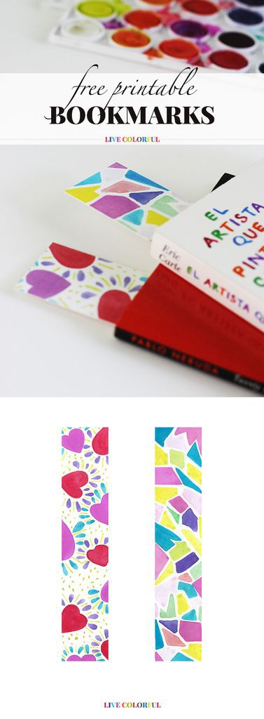 free watercolor downloadable bookmarks