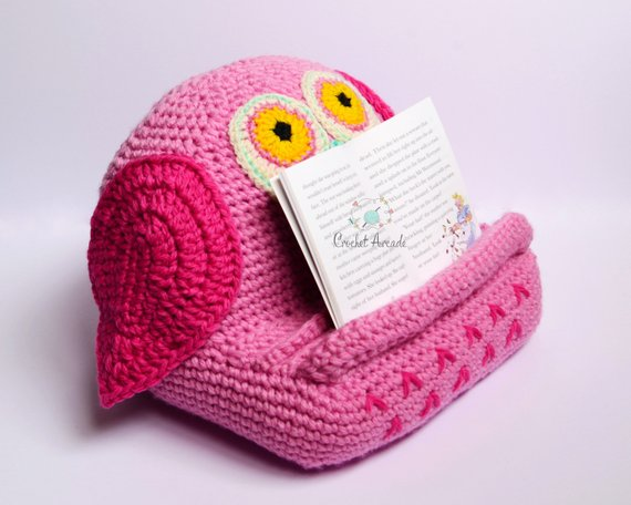 35 of the best book holders for reading in bed on a desk and more get out your hooks and crochet yourself an owl booktablet holder solutioingenieria Image collections