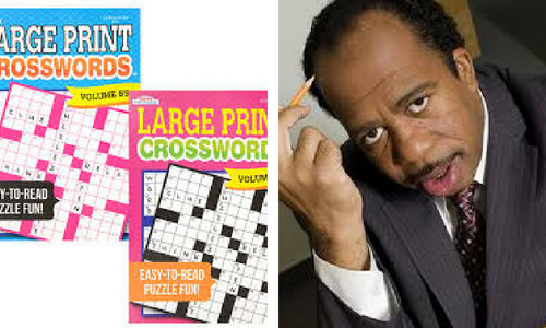 Crossword puzzle books and Stanley from The Office