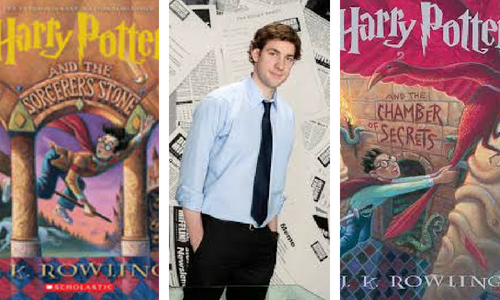 Harry Potter series book cover and Jim from The Office