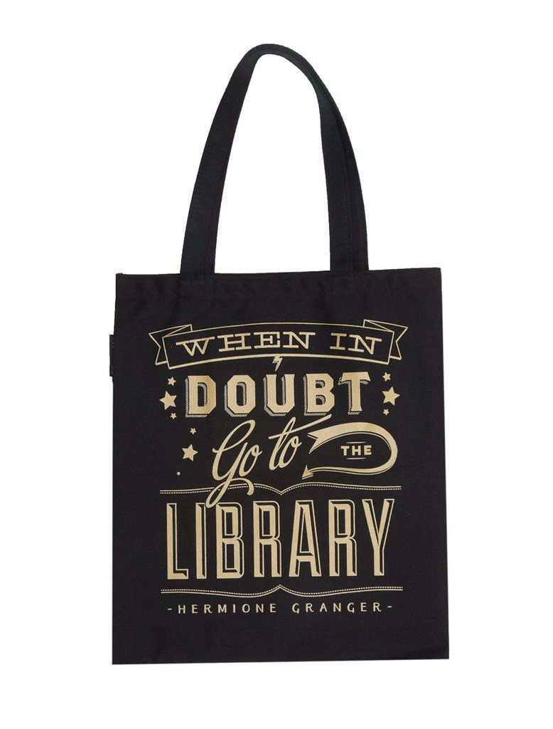 Harry Potter when in doubt go to the library quote book bag