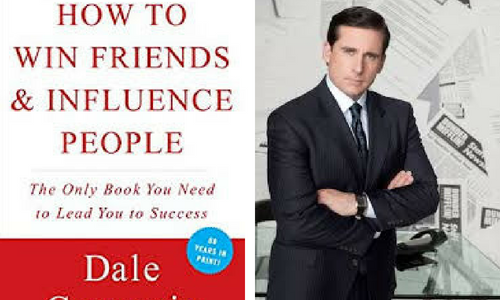 How to Win Friends and Influence People book cover and Michael from The Office