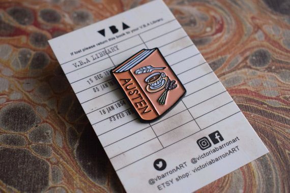 Jane Austen Book Enamel Pin - victoriabarronART