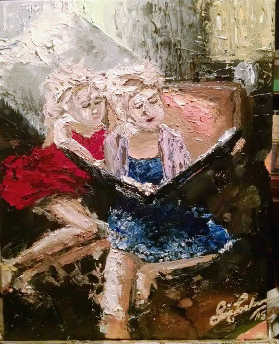 Sisters Reading Bookish Painting