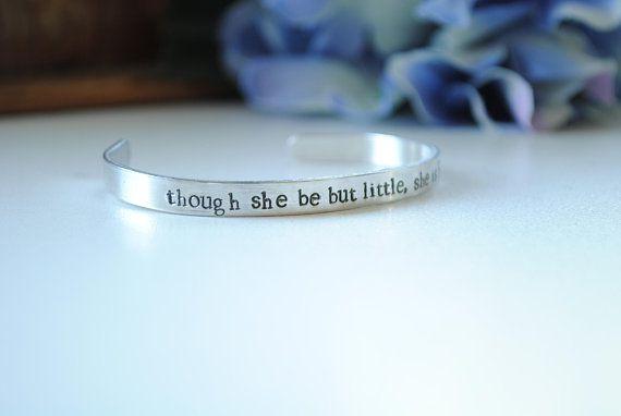 Stamped Bracelet Though She Be But Little - emilymbongoriginals