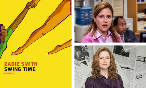 Swing Time book cover and Pam from The Office