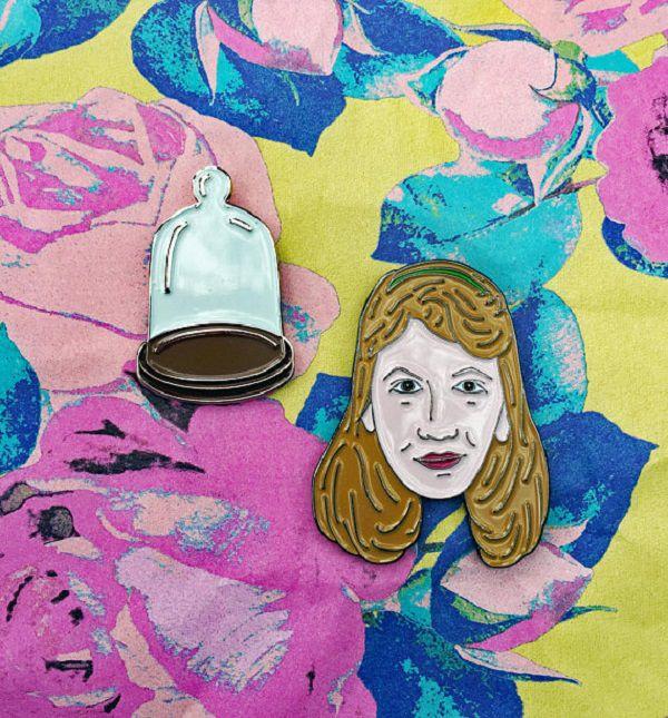 Sylvia Plath and Bell Jar Enamel Pin by studioarthead