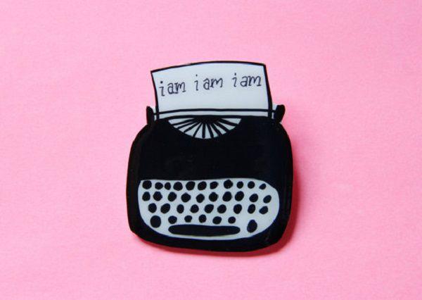 Sylvia Plath Typerwriter Brooch by ModernGirlBlitz