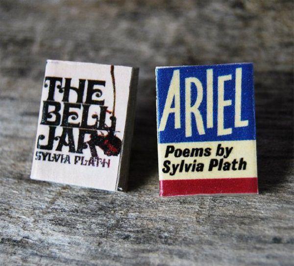 Sylvia Plaths Miniature Book Pins Set by bunnyhell