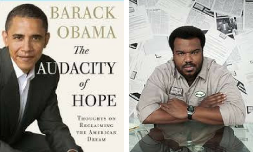 The Audacity of Hope book cover and Daryl from The Office