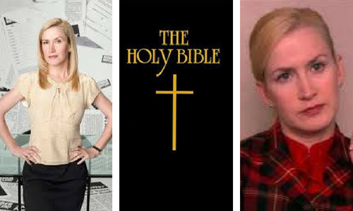 The Holy Bible cover and Angela from The Office