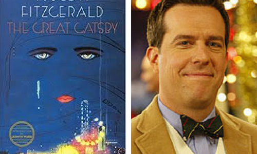 The Great Gatsby book cover and Andy from The Office