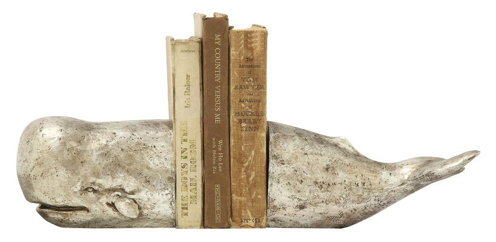 aged metal whale bookend