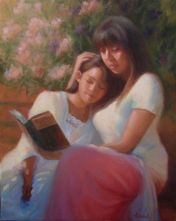 Mother Daughter Painting Reading