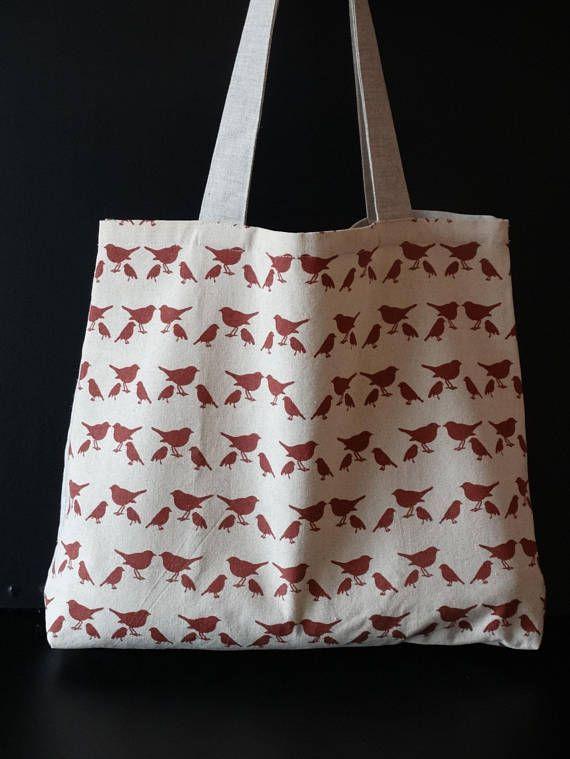 Linen big book bag with birds