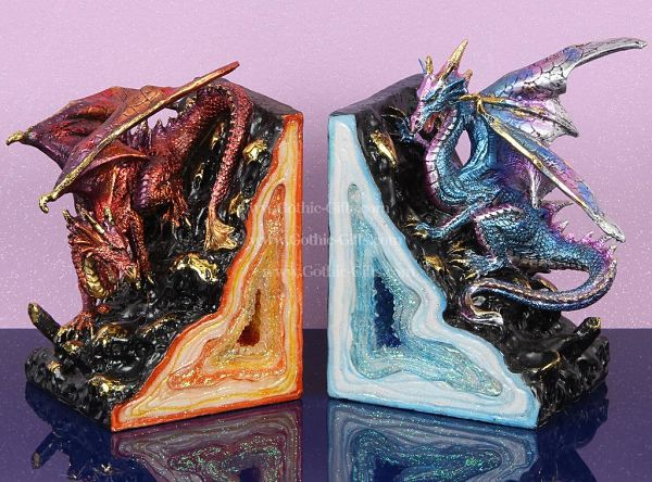 Blue and red geode dragon bookends
