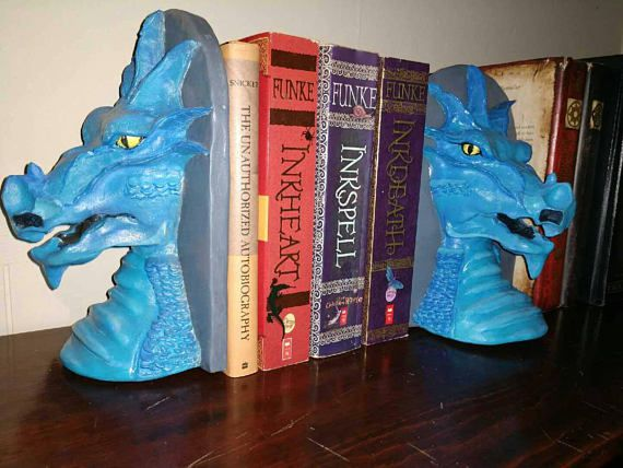 Blue dragon bookends