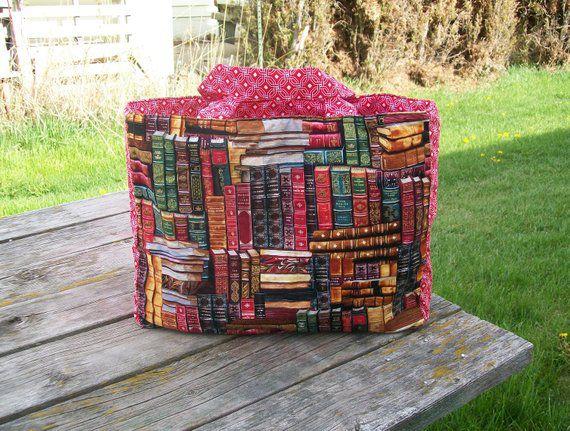 hand sewn book tote bag