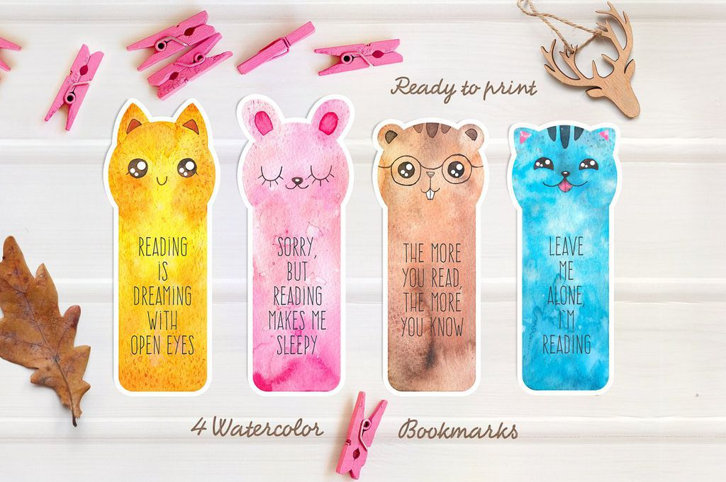 downloadable watercolor bookmarks