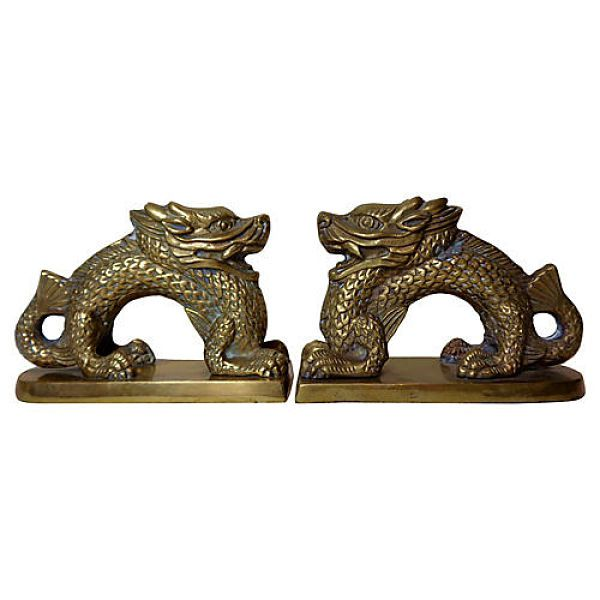 Brass vintage dragon bookends