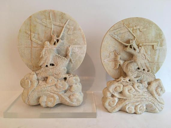 Carved soapstone white dragon bookends