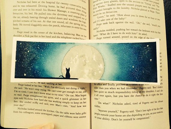 cat and moon watercolor bookmark