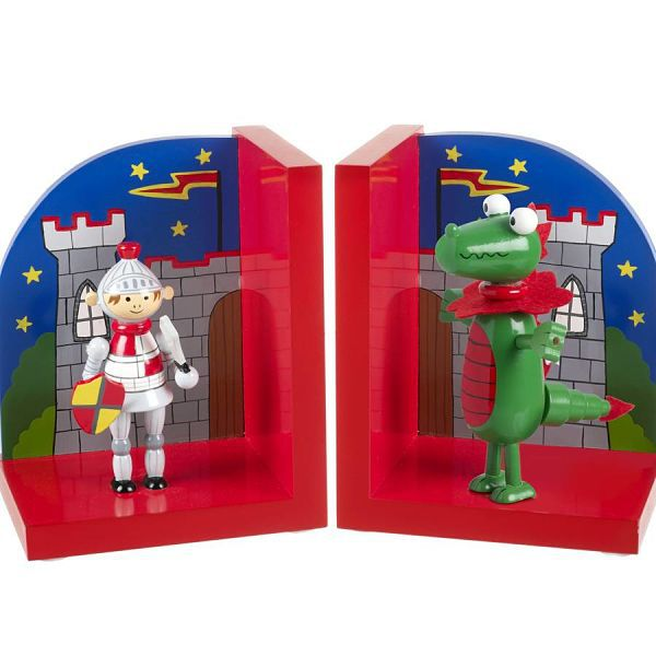Children's knight and dragon bookends