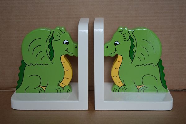 Cute children's dragon bookends