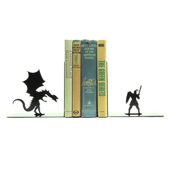 Dragon and knight metal bookends