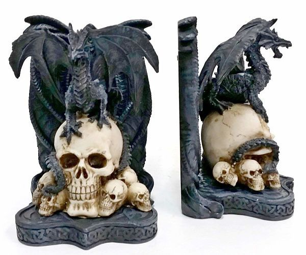Dragon and skull bookends