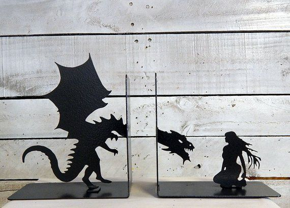 Dragon and woman metal bookends
