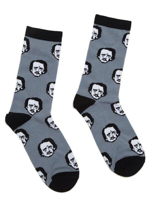 "Edgar Allan Poe ""Poe-ka Dot"" socks"