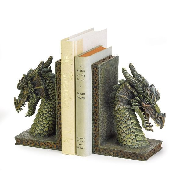 Green dragon bookends
