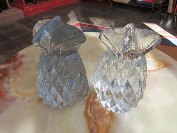 Glass Pineapple Bookends