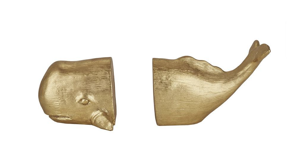 gold whale bookend