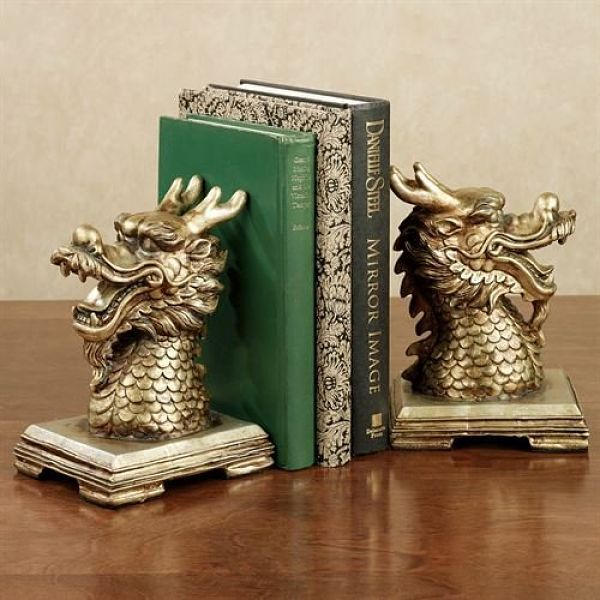 Golden dragon bookends